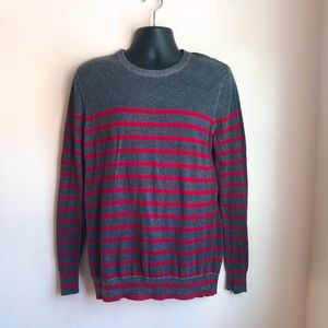 H&M Lightweight Red Charcoal Stripe Sweater